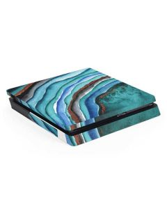 Turquoise Watercolor Geode PS4 Slim Skin