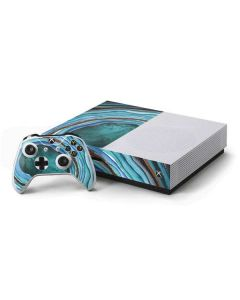 Turquoise Watercolor Geode Xbox One S Console and Controller Bundle Skin