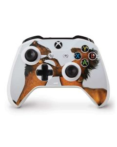 Two Stallions at a Wild Horse Conservation Center Xbox One S Controller Skin