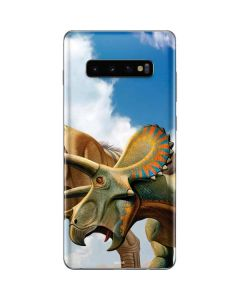 Tyrannosaurus Rex Fighting with Two Triceratops Galaxy S10 Plus Skin