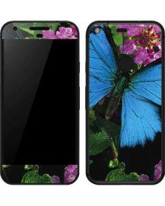 Ulysses Butterfly Lands On Pink Flowers Google Pixel Skin