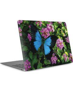 Ulysses Butterfly Lands On Pink Flowers Apple MacBook Air Skin