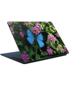 Ulysses Butterfly Lands On Pink Flowers Surface Laptop Skin