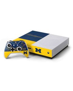 University of Michigan Split Xbox One S Console and Controller Bundle Skin