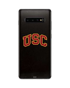 USC Logo Black Distressed Galaxy S10 Plus Skin