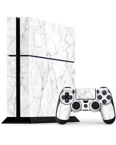 White Marble PS4 Console and Controller Bundle Skin
