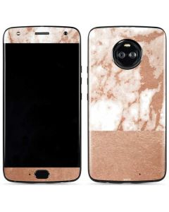 White Rose Gold Marble Moto X4 Skin