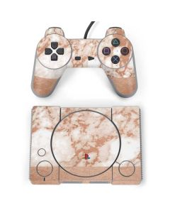 White Rose Gold Marble PlayStation Classic Bundle Skin
