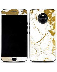 White Scattered Marble Moto X4 Skin
