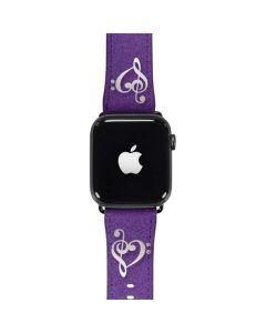 Purple Glitter Musical Heart Apple Watch Band 42-44mm