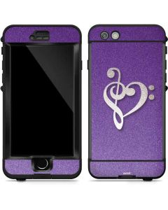 Purple Glitter Musical Heart LifeProof Nuud iPhone Skin