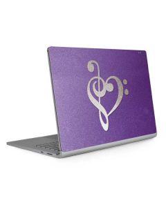 Purple Glitter Musical Heart Surface Book 2 15in Skin