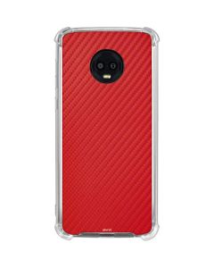 Red Carbon Fiber Moto G6 Clear Case