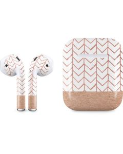 Rose Gold Herringbone Apple AirPods 2 Skin