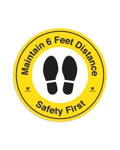 """Maintain 6 Feet Distance 16"""" x 16"""" Floor Decal"""