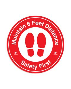 "Red Maintain 6 Feet Distance 16"" x 16"" Floor Decal"