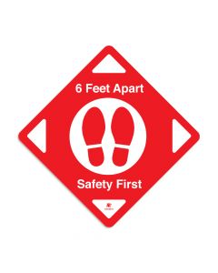 "Red 6 Feet Apart 16"" x 16"" Floor Decal - Square"