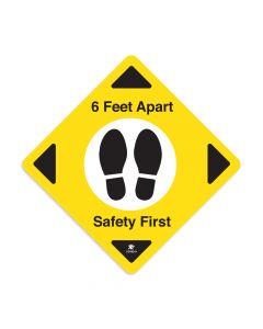 "6 Feet Apart 16"" x 16"" Floor Decal - Square"
