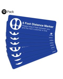 "Blue 6 Foot Distance Marker 4"" x 12"" Floor Decal - 12 Pack"