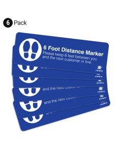 "Blue 6 Foot Distance Marker 4"" x 12"" Floor Decal - 6 Pack"
