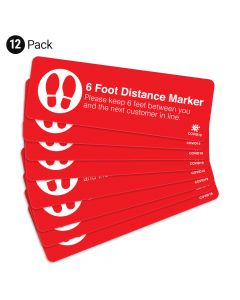 "Red 6 Foot Distance Marker 4"" x 12"" Floor Decal - 12 Pack"
