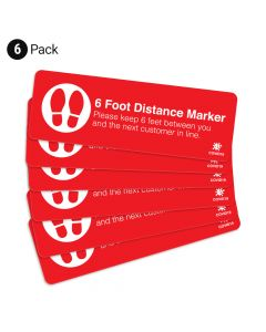 "Red 6 Foot Distance Marker 4"" x 12"" Floor Decal - 6 Pack"