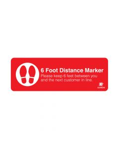 "Red 6 Foot Distance Marker 4"" x 12"" Floor Decal"