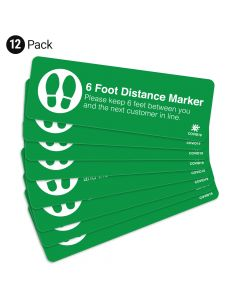 "Green 6 Foot Distance Marker 4"" x 12"" Floor Decal - 12 Pack"