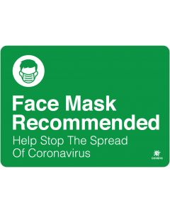 "Face Mask Recommended 10"" x 14"" Wall Graphic"