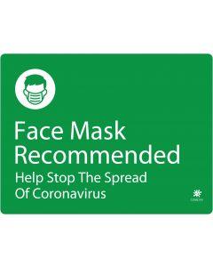 "Face Mask Recommended 18"" x 24"" Wall Graphic"