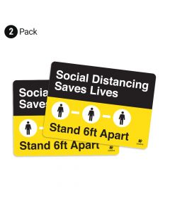 """Social Distancing Saves Lives 10"""" x 14"""" Wall Graphic - 2 Pack"""