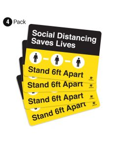 """Social Distancing Saves Lives 10"""" x 14"""" Wall Graphic - 4 Pack"""
