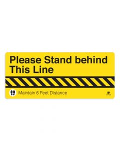 "Please Stand Behind This Line 10"" x 24"" Floor Decal"