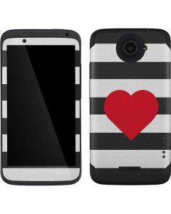 Black And White Striped Heart One X Skin
