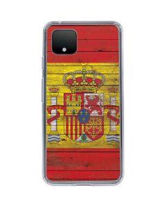 Spain Flag Dark Wood Google Pixel 4 Clear Case