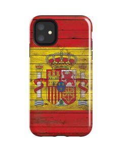 Spain Flag Dark Wood iPhone 11 Impact Case