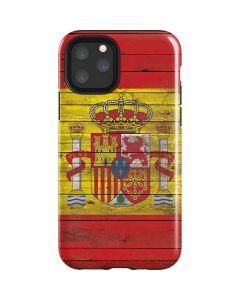 Spain Flag Dark Wood iPhone 11 Pro Impact Case