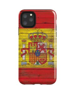 Spain Flag Dark Wood iPhone 11 Pro Max Impact Case