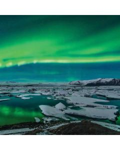 Aurora Borealis Over The Glacial Lagoon Jokulsarlon in Iceland Apple TV Skin