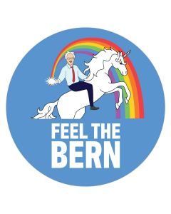 "Feel The Bern Unicorn 4"" x 4"" Bumper Sticker"