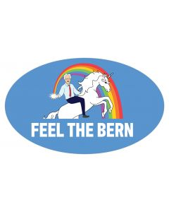 "Feel The Bern Unicorn 5"" x 3"" Bumper Sticker"