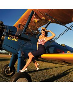 1940s Pin-Up On Stearman Biplane Otterbox Defender iPhone Skin