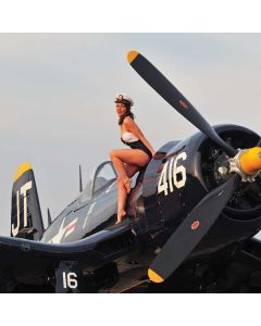 1940s Navy Pin-Up Girl On Corsair Fighter Plane PS4 Pro/Slim Controller Skin