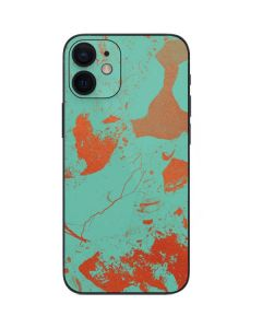 Turquoise and Orange Marble iPhone 12 Mini Skin