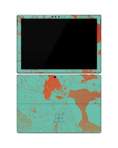Turquoise and Orange Marble Surface Pro 7 Skin