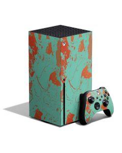 Turquoise and Orange Marble Xbox Series X Bundle Skin