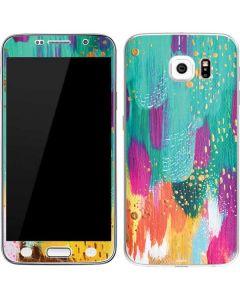Turquoise Brush Stroke Galaxy S6 Skin