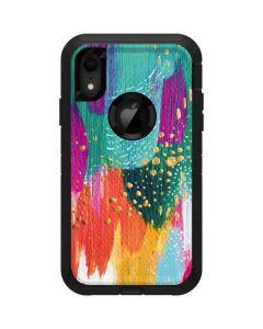 Turquoise Brush Stroke Otterbox Defender iPhone Skin