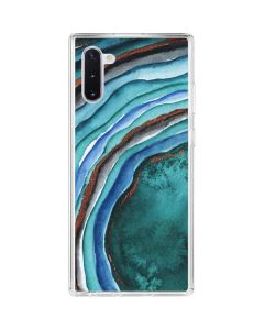 Turquoise Watercolor Geode Galaxy Note 10 Clear Case