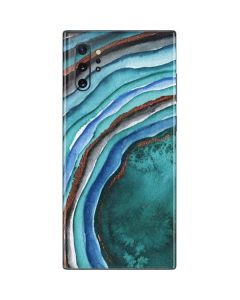 Turquoise Watercolor Geode Galaxy Note 10 Plus Skin